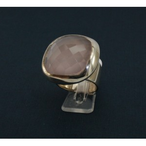 Bague quartz rose carré