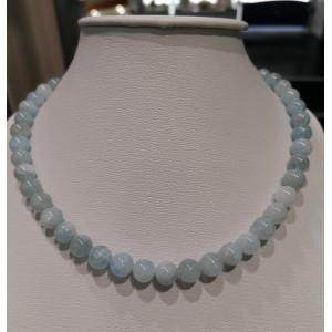 Collier boules 8 mm en aigue-marine