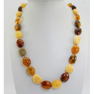 Collier ambre olives multicolores