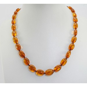 Collier ambre olives cognac